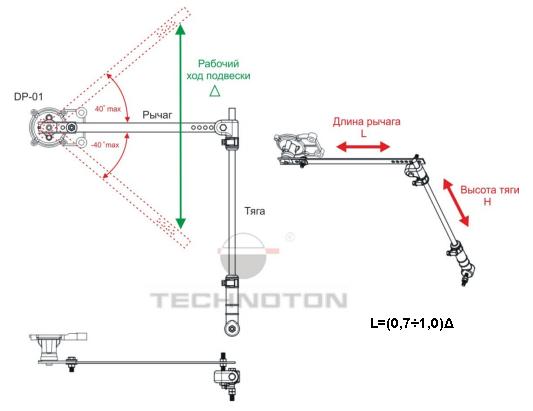 Подбор длины рычага и высоты тяги при монтаже датчика нагрузки GNOM DP