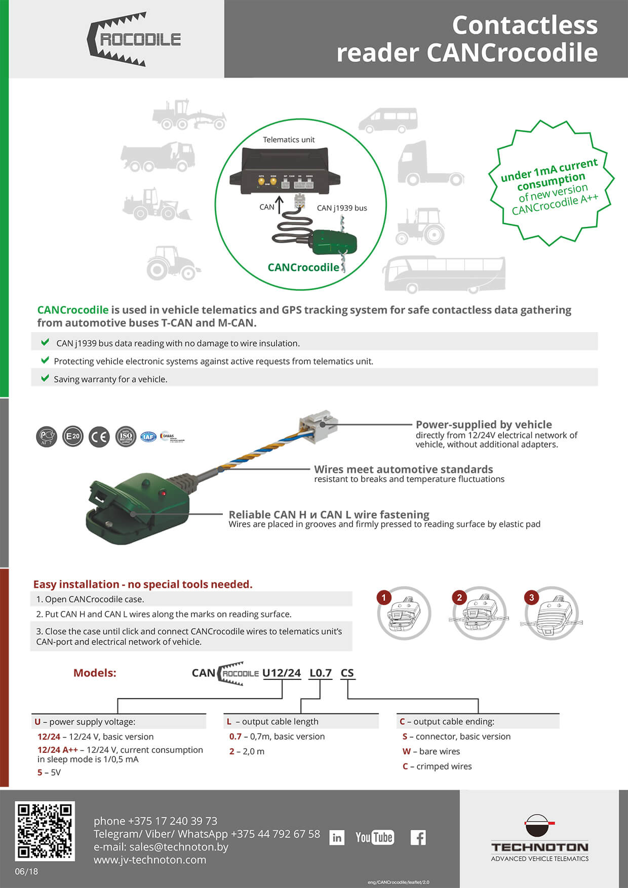 "Leaflet ""CANCrocodile contactless reader"""