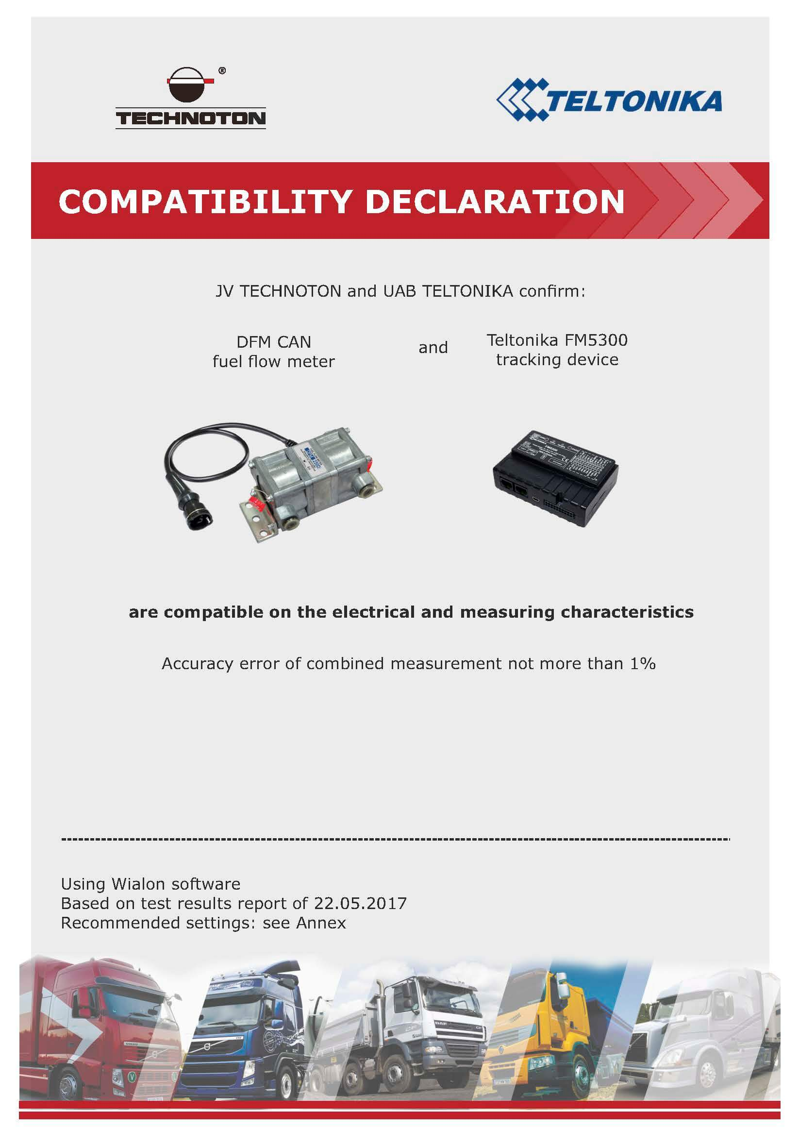 DFM CAN and Teltonica FMS5300 are compatible