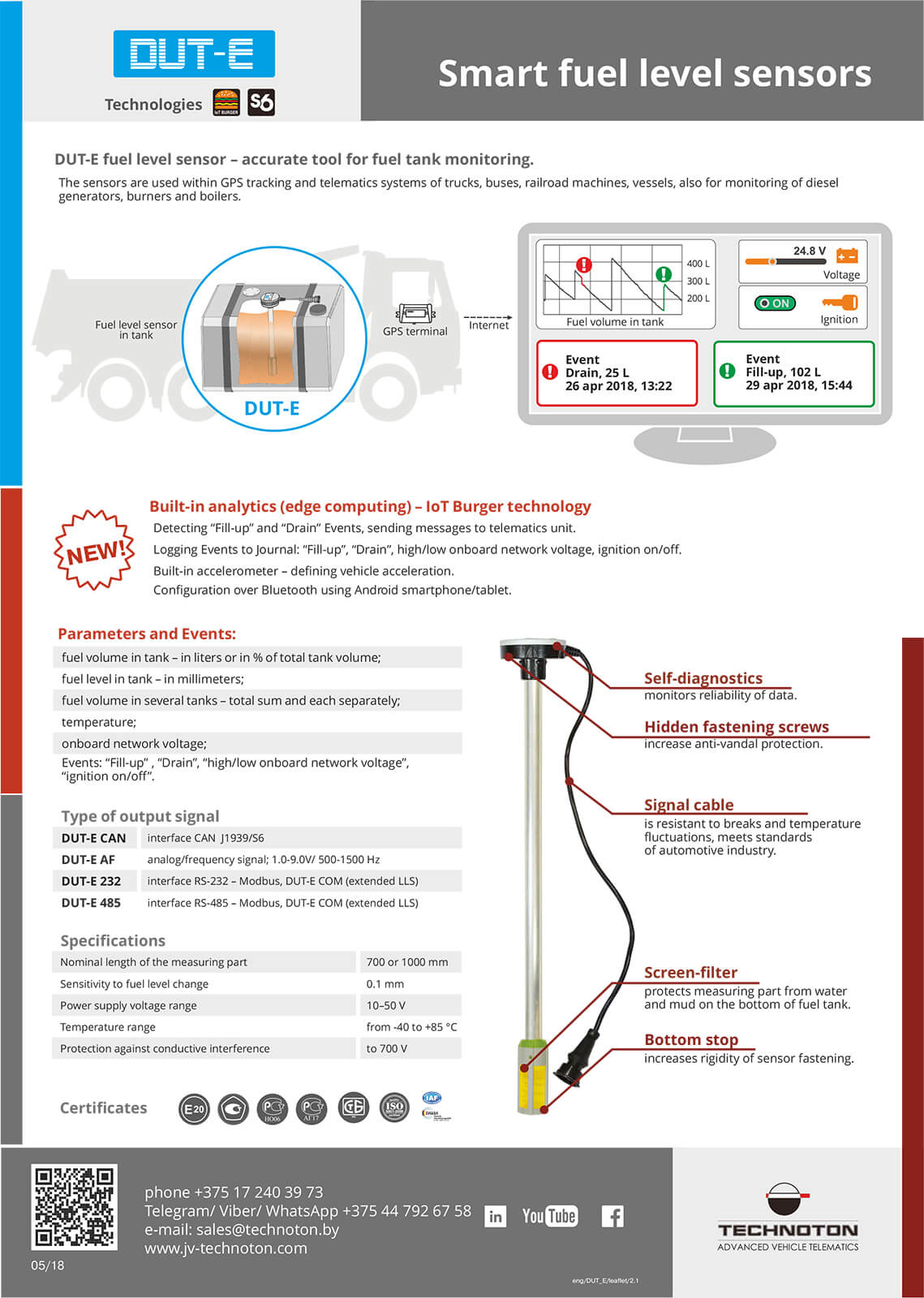 Leaflet fuel level sensor dut-e can