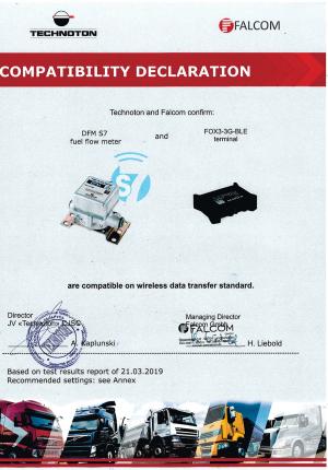 Декларация совместимости трекера Falcom и DFM S7 Technoton