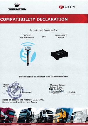 Декларация совместимости трекера Falcom и DUT-E S7 Technoton