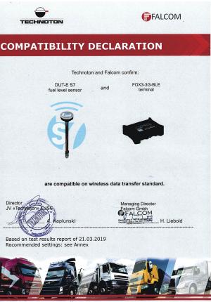 Compatibility Declaration Falcom terminal and DUT-E S7 Technoton