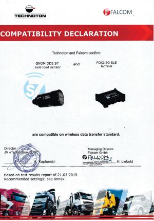 Декларация совместимости терминала Falcom and GNOM DDE S7 Technoton
