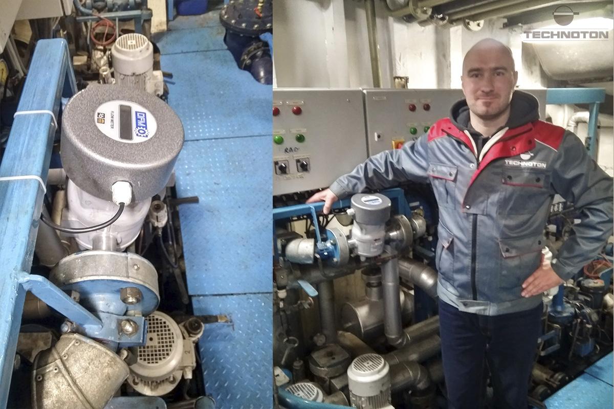 Instalación del medidor de flujo de combustible en el barco