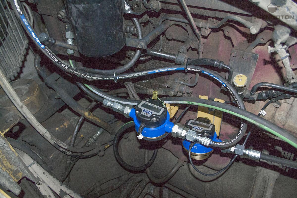 Medidores de flujo DFM Marine montados en el motor trasero de la excavadora