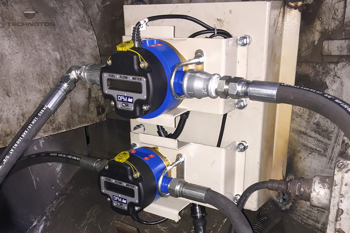 Fuel flow meters are mounted on locomotive