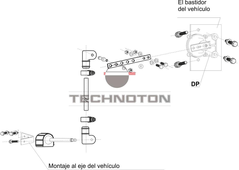 Esquema típico de la instalación de GNOM DP en un vehículo de dos ejes