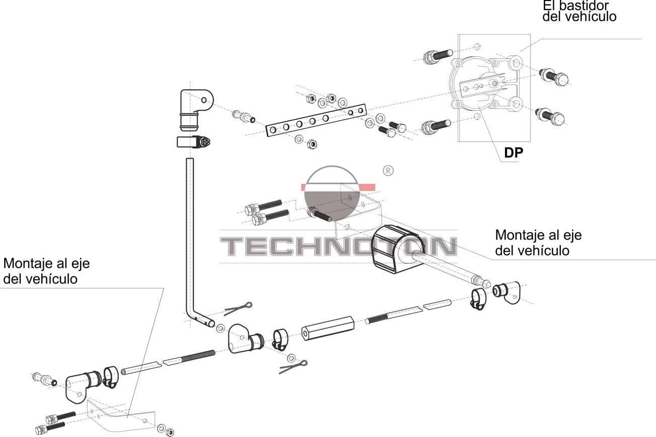 Esquema típico de la instalación de GNOM DP en un vehículo de tres ejes