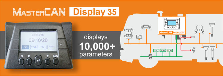 CAN bus display for on-board data monitoring